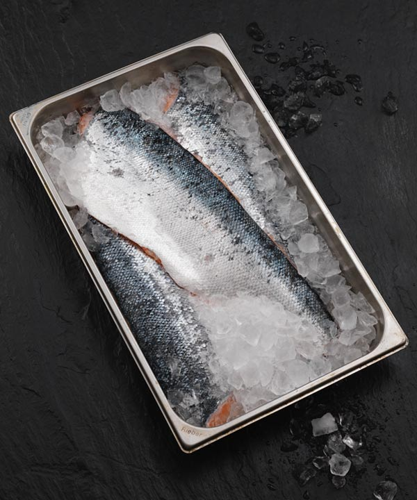 Salmon with skin on in pan